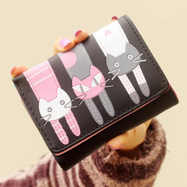 Cartoon Pig Leather Trifold Wallet Women Short Coin Purse Credit Card Holder