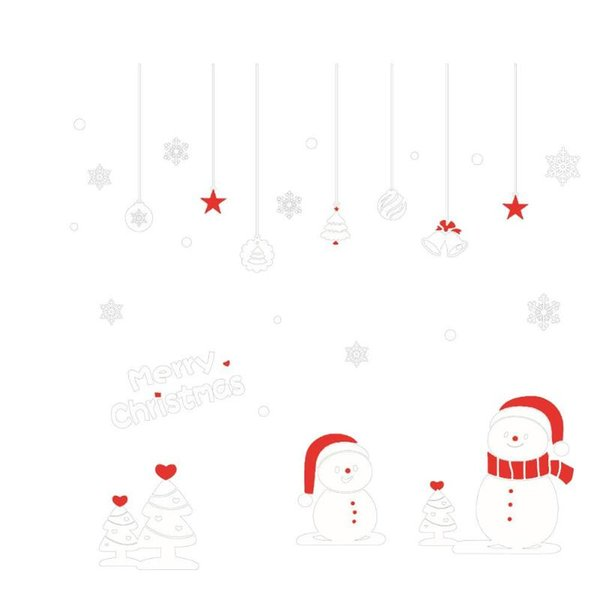 2pcs Christmas Snowman Snowflakes Wall Stickers Room Decor Window Stickers