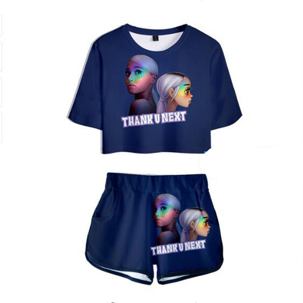 Women Two Piece Outfits Thank u next Ariana Grande 3D Printed 2 Piece Set Crop Top and Short Pants Tracksuit For Women Sets