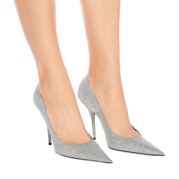 Moda Glitter Senhoras Verão Vestido de Festa Sapatos de Casamento de Alta Qualidade Apontou Toes de Salto Alto Sapatos Novo Estilo Bombas Slip-on