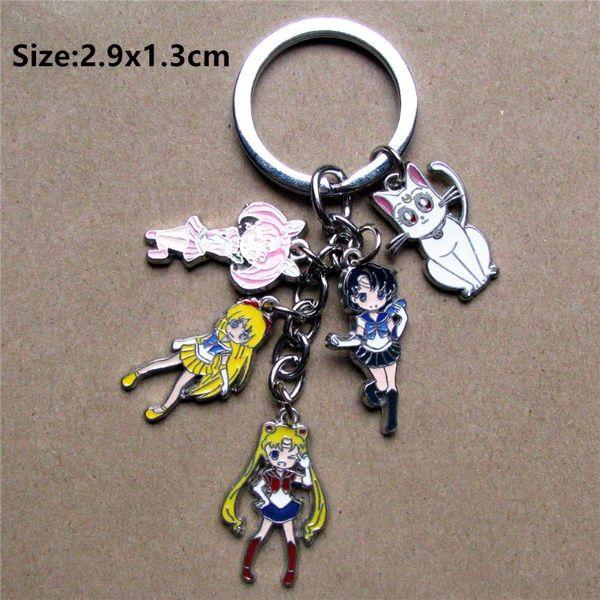 Janpanese Anime Sailor Moon Keychain Key Ring Cat Figure Metal Pendant Key Chain Gift