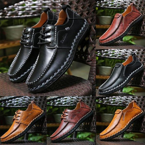 Высочайшее качество натуральной кожи Luxury Designer бренд мужской повседневной обуви на шнуровке или Slip-On мужской костюм обуви Классическая обувь Zapatos Drivers Loaf