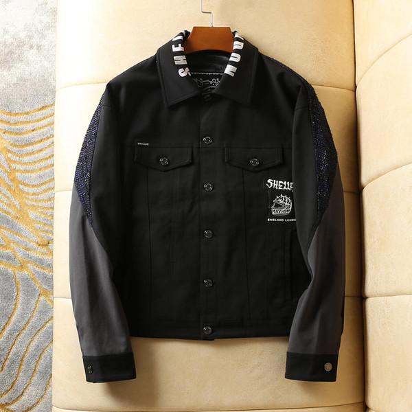 бренд мужской высококачественный пиджак короткий бейсбол куртка отворот мужской комбинезон карман с длинным рукавом дизайнер высококачественный пиджак