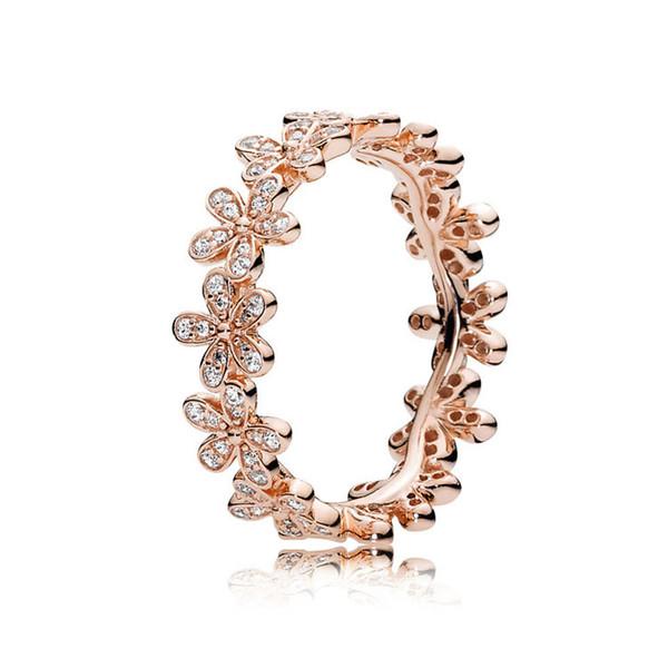 18K Rose gold Daisy Flower wedding rings sets Original Box for Pandora 925 Sterling Silver luxury designer jewelry women rings