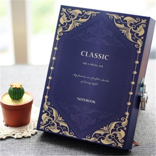 Manuale di cartone Retro alta qualità cancelleria dell'annata notebook password segreta con serratura diario quotidiano Carnet notepad segreto
