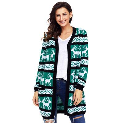 Womens Christmas Jackets 2018Autumn and Winter Large Size Maglione Animal Print manica lunga allentata Red Green Knit Outwear Coat per Ladies XXL