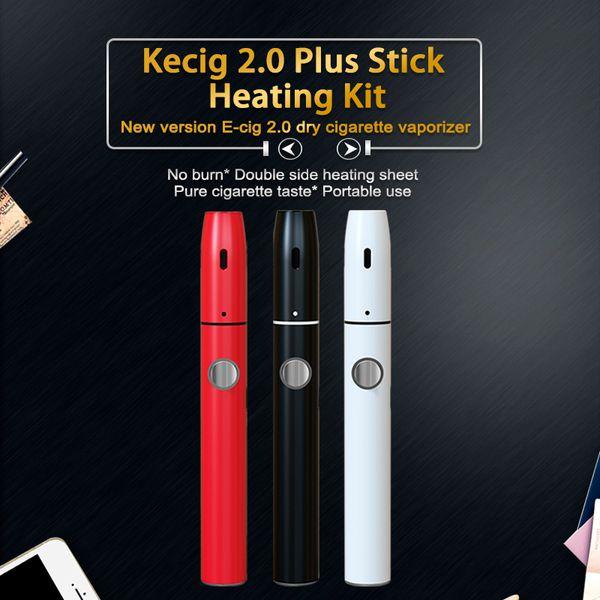 Original Kamry Kecig 2.0 plus Kit chaleur Vape pen 650mah Batterie pour chauffer Pas brûler cartouche Vaporisateur Cigarette électronique