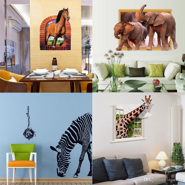 Mixed style zebra horse elephant giraffe wall stickers 3D animal wall decals stickers for kinds room PVC wall art murals wallpaper
