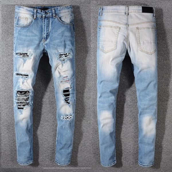 2019 New Italy Style #577# Men'S Distressed Artist Ripped Patches Pant Washed Stretch Blue Skinny Jeans Slim Trousers Size 29 42 From Moussy, $66.16 |