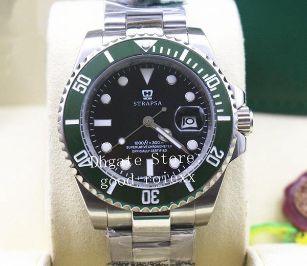 Mens Automatic 2813 Movement Watches Sapphire Crystal Watch Green Ceramic Bezel Black Dial 116610 Sub Dive Men Sport Oyster Wristwatches