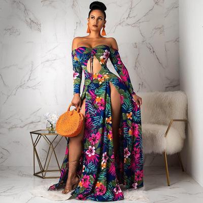 Mujeres fuera del hombro, manga larga, corbata, corte, frente, estampado floral, maxi, vestido, club de playa de alta división, vestidos largos sexy, 5 colores