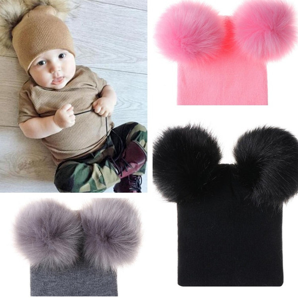 Cute baby Warm hats two ball hair ball hats double ball wool hat baby knit hat T8G009