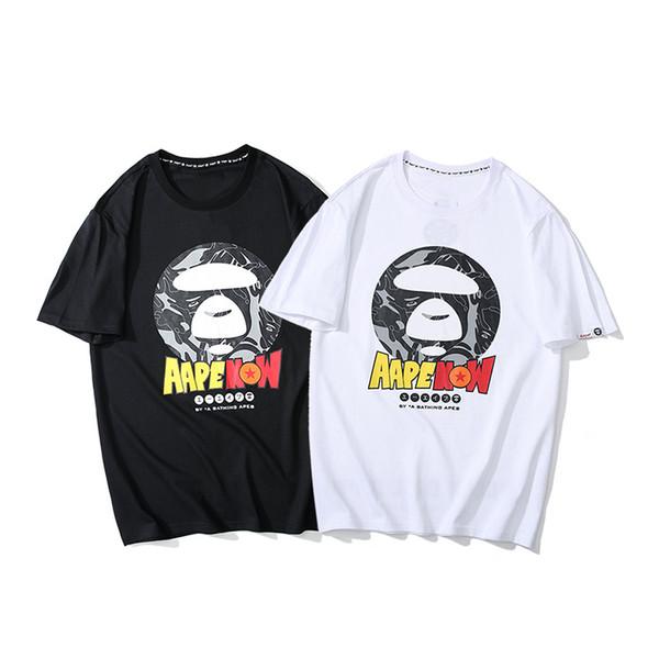 Новые мужские дизайнерские футболки AAPES хлопок дикая классическая футболка бренда класса люкс мода пара футболка высокое качество повседневная свободные большие sizeS-XXL