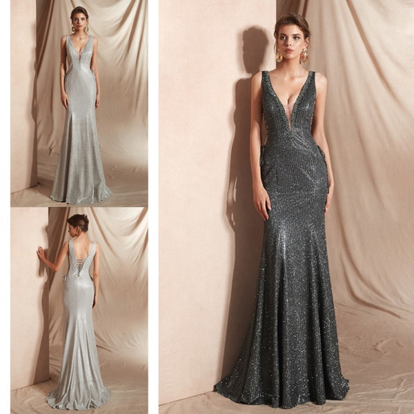 Glittering Sliver Grey Sequins Mermaid Evening Mother of the Bride Dresses Long Backless Cutaway Waist Beaded Cheap Prom Bridesmaid Dress