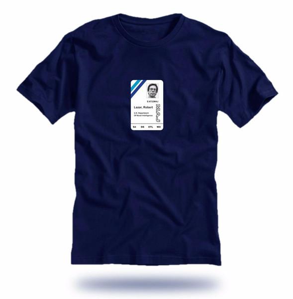 Bob Lazar Area 51 carte d'identité sur bleu marine unisexe T-shirt Homme 2019 ronde d'été cou Vêtements pour hommes Slim Fit Mode T-shirts personnalisés pas cher
