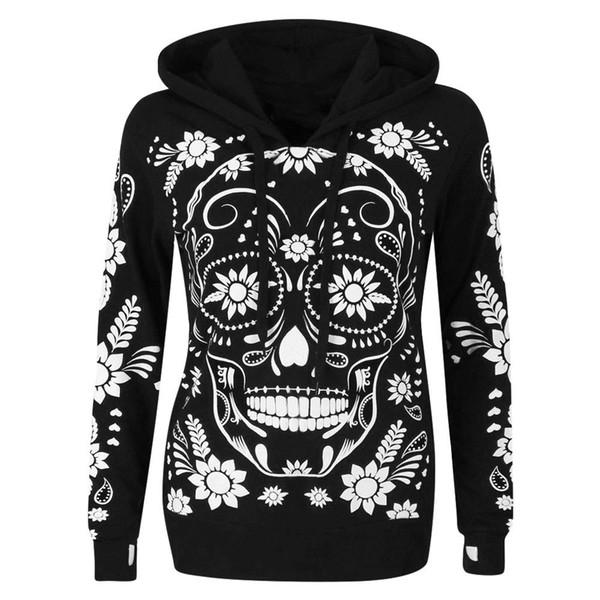 Papa Chen skull imprimé Hoodies coton à capuche drôles de dames Femmes d'hiver à capuchon chaud manteau Taille Plus Streetwear Vêtements gothiques