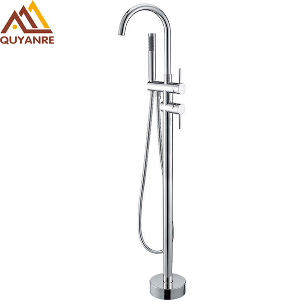 top popular Chrome Bathtub Faucet 360 Rotation Chrome Floor Stand Faucet Single Handle Mixer Tap ABS handshower Bath Faucets 2021