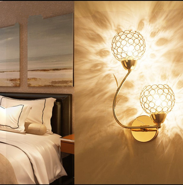 Golden Double-headed K9 Crystal Wall Lamp Creative Arts Berth Lamp Crystal Ball LED Wall Lights Indoor Lighting E14 Bulb LED Mirror Light