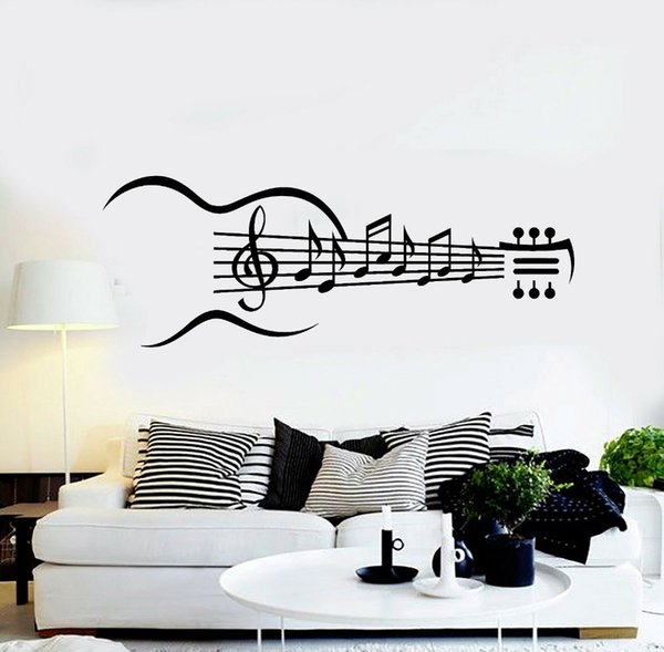 Guitar Instrument Vinyl Wall Decal Guitar Music Notes Bedroom Living Room  Stickers Removable Art Home Decoration Wellpaper