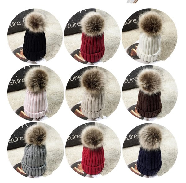 Kinder Mädchen stricken warme Baumwolle Beanie Hut Faux Scorpion Fox Fur Ball Kind und Erwachsene Crown Hut Weihnachtsgeschenk 13 Farbe QJ-0536