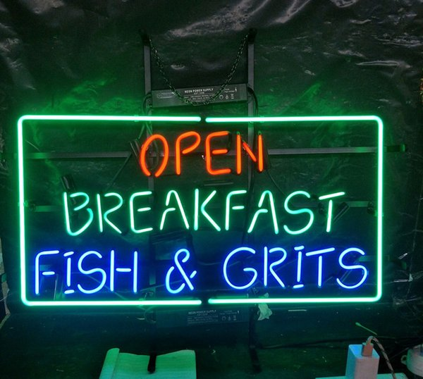 OPEN BREAKFAST FISH & GRITS Neon Sign Light Advertising Entertainment Decoration Art Display Real Glass Lamp Metal Frame 17'' 24'' 30''40''