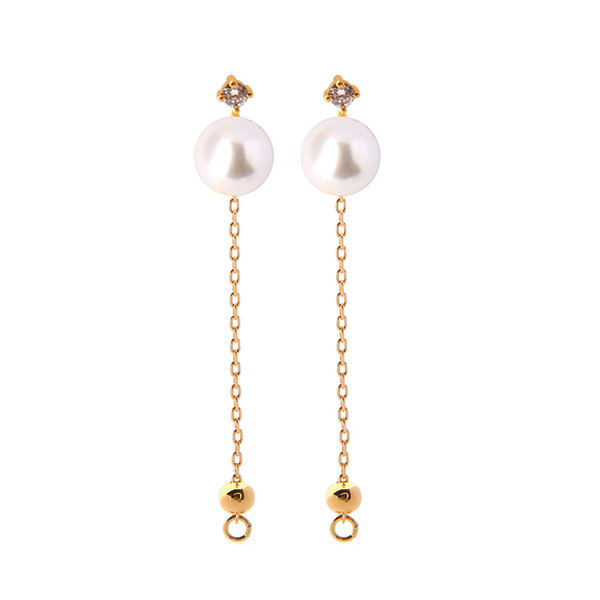 KISS ME Exquisite Zircon Unique Glass Pearl Drop Earrings For Women Gifts Gold Color Long Chain Brass Dangle Earrings Accessory