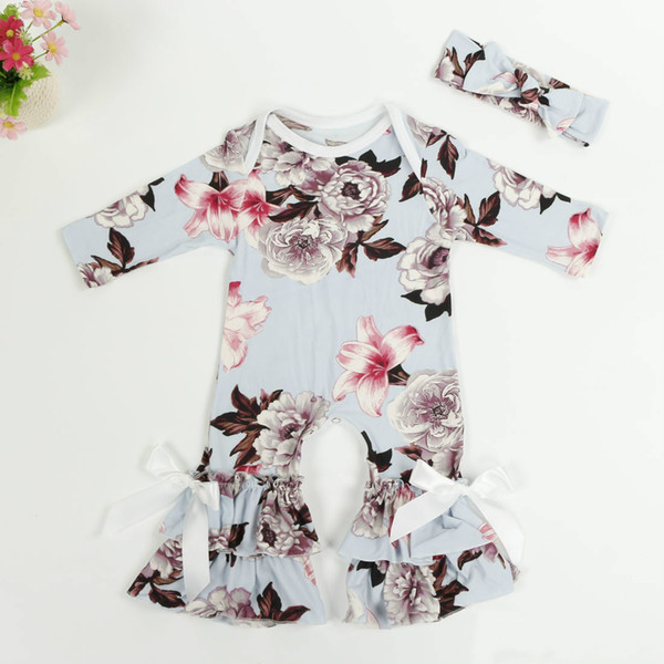 Spring 2019 Newborn Girls Clothes with Headband Baby Onesie Toddler Floral Printed Milk Silk Baby Girls Rompers Baby Jumpsuit