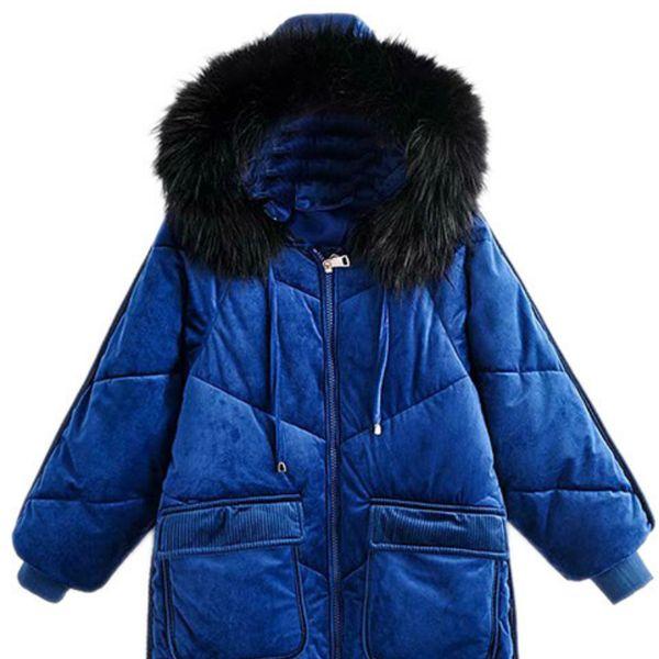 Kalın pamuk yastığı uzun bölüm diz üstünde ince büyük kürk yakalı kapşonlu sıcak pamuklu ceket oldu