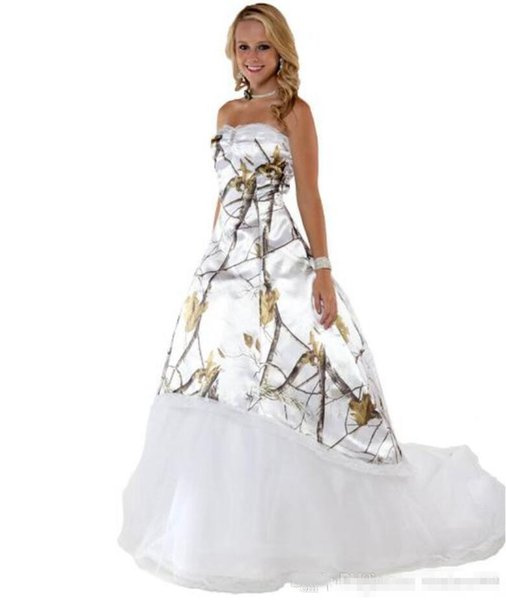 Plus Size Fashion White Camo Wedding Dresses with Tulle Skirt Realtree Camouflage Bridal Dresses Sweep Train Wedding Gowns Vestidos Ve Novia