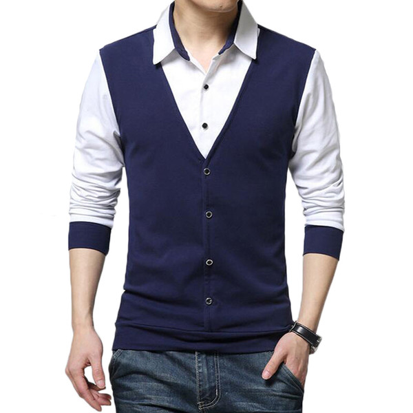 3413e11d2909 Shirts Men Fashion Fake Two Designer Clothing Mens Casual Spring Autumn  Turn Down Long Sleeve Slim