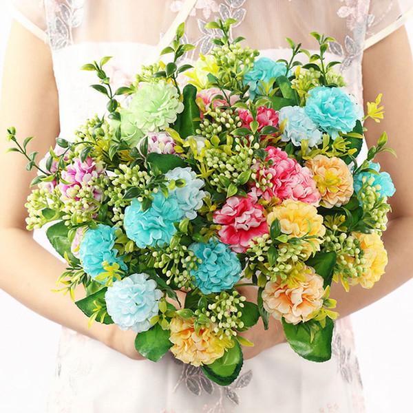 5,5 cm 5 ramo 5 testa Tennis da tavolo fiori margherita Fiore di seta finta africana fiore artificiale per matrimonio Fai da te Decorazione per feste decorazioni per la casa