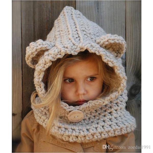 Otoño Bebé Niñas Niños Invierno Cálido Lindo Oso Bebe Niños de punto hecho a mano bufanda y botón Cap Decorate Girls Clothing Set