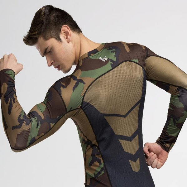 Camouflage Men Long Sleeve Compression T shirt Running High Elastic Quick Dry Base Layer Skin Fitness Basketball Gym Tights