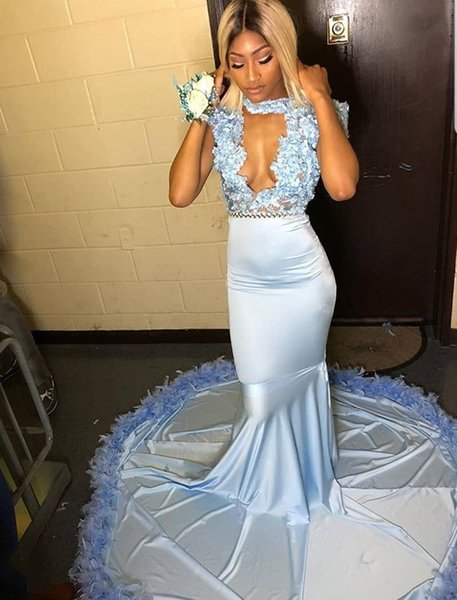 Hot Blue Mermaid Prom Dresses 2019 With Hand Made Flowers Sweep Train Feather Formal Evening Party Dresses DP0038