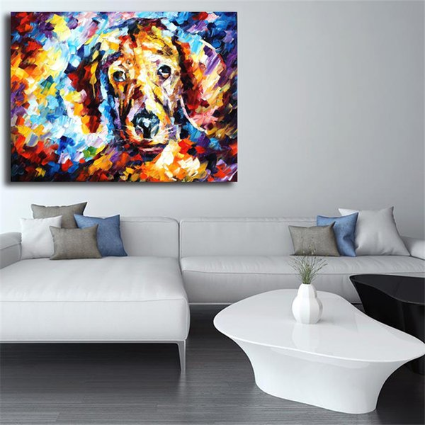 Dog 4 Palette Knife Animal Wall Art Decor Oil Painting On Canvas HD Poster Prints Salon Pictures For Office Bedroom Home Decor