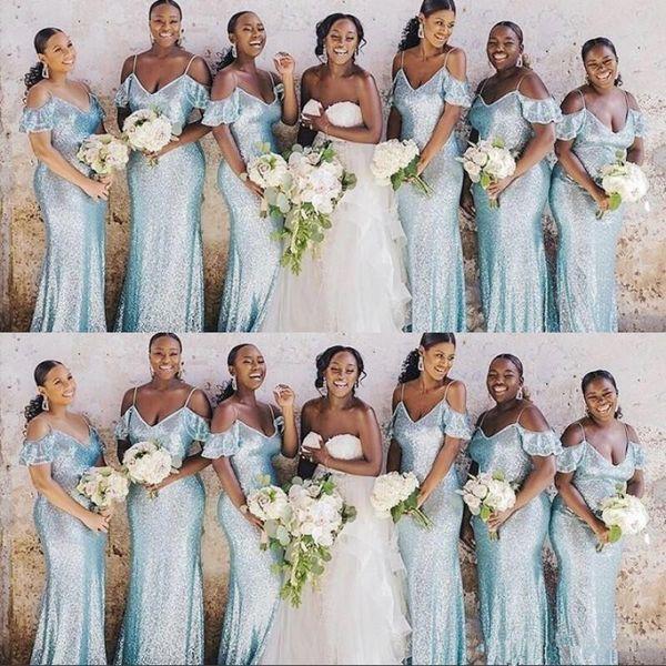 Paillettes africaine sirène robes de demoiselle d'honneur Plus Size Femme de ménage d'honneur robe mancherons robe de bal robes de demoiselle d'honneur