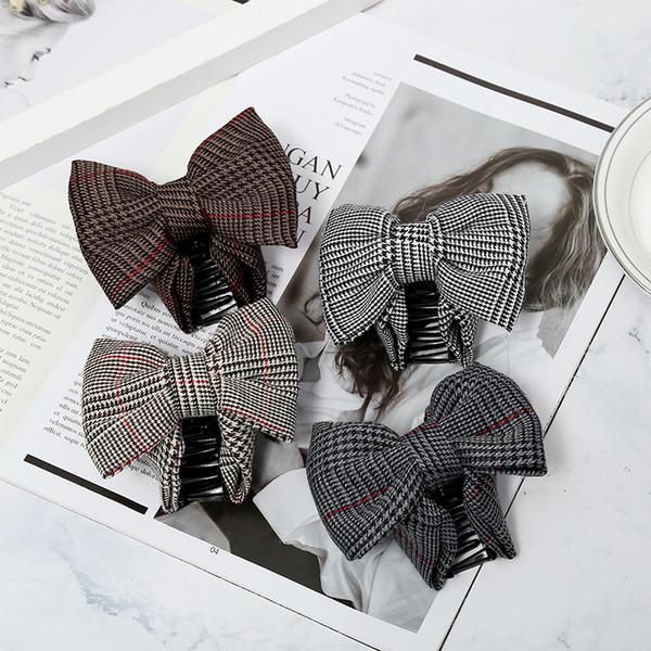 Novas mulheres chegada Moda xadrez encantador estilo coreano cabelo clipe hairpin acessórios elegantes pano cabelo arco da menina