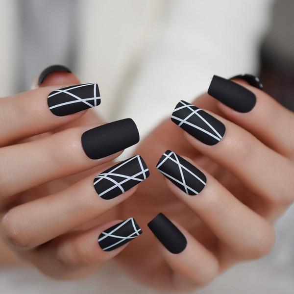 Matte White Line Long Nail Schwarzes Quadrat Interweave Minimalist Style Fake Nail Frosted Glamour Künstliche Tips