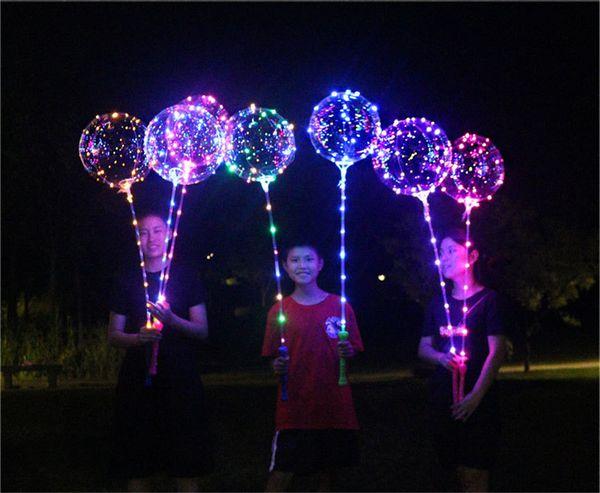 Bobo Ball línea LED con manija de palo Wave Ball 3M String Balloons Flashing light Up para Navidad Boda Cumpleaños Fiesta Decoración del hogar Nuevo
