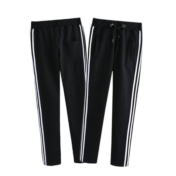 2019 designer nouveaux pantalons de survêtement en vrac en coton pantalons de survêtement pour hommes pantalons été section mince section droite pantalon de garde rayé blanc