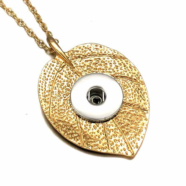 Fashion Interchangeable Golden Leaves Crystal Ginger Necklace 281 Fit 12mm 18mm Snap Button Pendant Necklace Charm Jewelry For Women Gift
