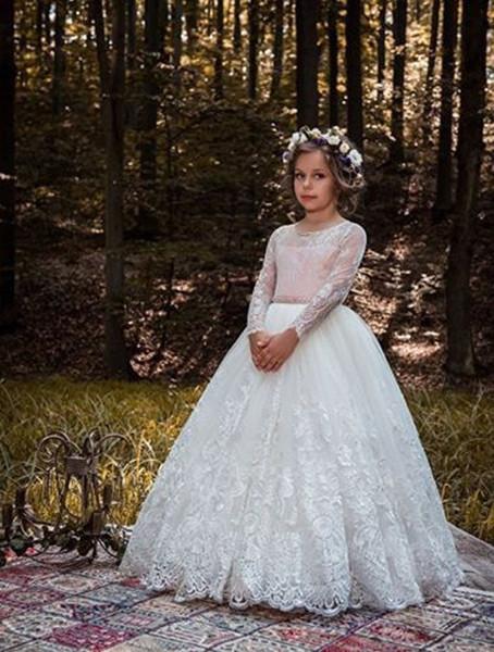 Weiß / Elfenbein Spitze Applique Kinder TUTU Blumenmädchenkleider Rosa Schärpe Lange Party Prinzessin Kleid Brautjungfer Hochzeit Abendkleid 63