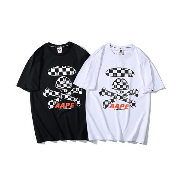 Street Trend Malha Bandeira Impressão Homem Camisetas T-shirt Personalidade Garfo Bone Lattice Impressão de Manga Curta