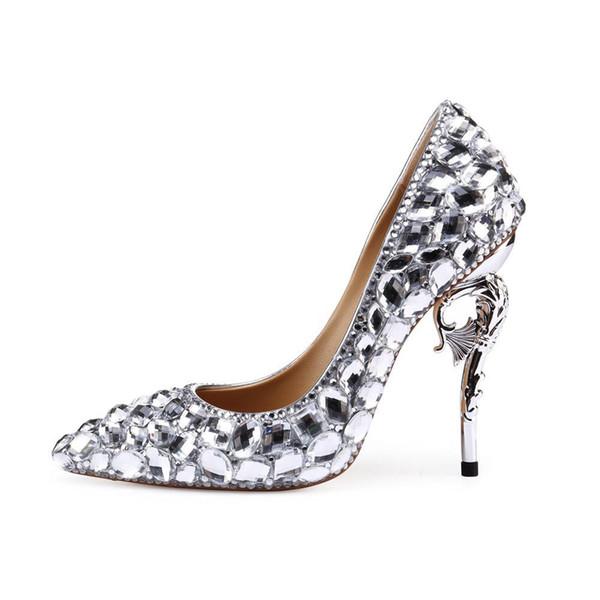 2019 Moda bayan hakiki deri düğün ayakkabı tasarımcısı lüks büyük elmas yüksek topuklu sivri gelin yüksek topuklu ayakkabı pompalar