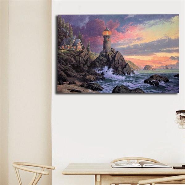 Rock of Salvation Thomas Kinkade Wall Art Canvas Poster Prints Landscape Painting Immagini a parete per soggiorno Home Decor