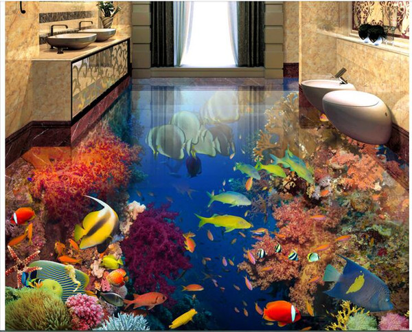 3d pvc flooring custom photo Self-adhesive wall paper floor Tropical fish underwater world home decor 3d wall murals wallpaper for walls 3 d