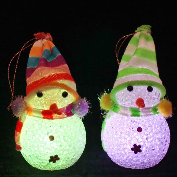 EVA bonhomme de neige Changement de couleur LED Festival Bonhomme de neige LED Veilleuse Décor à la maison Décorations De Noël Décorations nocturnes mignonnes cadeaux