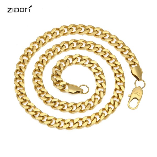 Gold color 18 k Hiphop Men chain necklace Stainless Steel 9mm/24-27.5inch long Miami Cuban Link Necklace Men hip hop jewelry