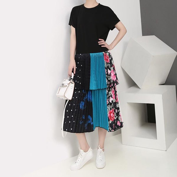 2019 Корейский стиль женщины лето Черный Лоскутные плиссе платье Красочные оборками Хем Ladies Party Club платье Robe Femme F1016