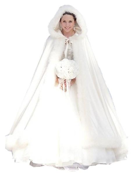 2019 New Cheap Elegant White Ivory Warm Bridal Cape Winter Fur Women Jacket Bridal Floor Length Cloaks Long Party Wedding Coat AL03